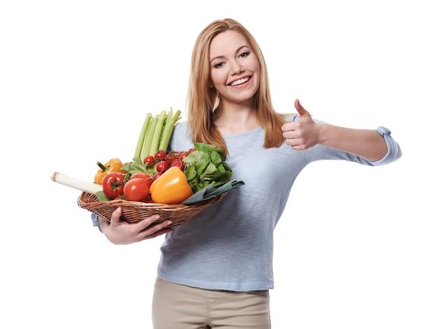 Fique verde e coma vegetais frescos