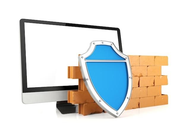 Firewall com monitor de computador, conceito de segurança do computador, renderização em 3d