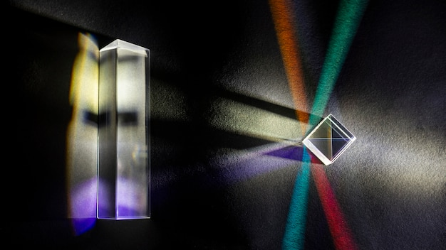 Física óptica prisma cúbico de refração de raio