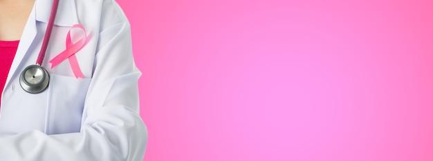Fita adesiva médica para conscientização do câncer para cuidados de saúde com estetoscópio