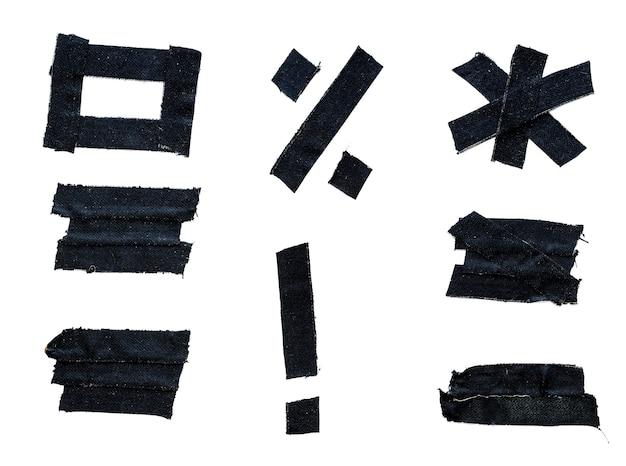 Fita adesiva preta isolada em um fundo branco