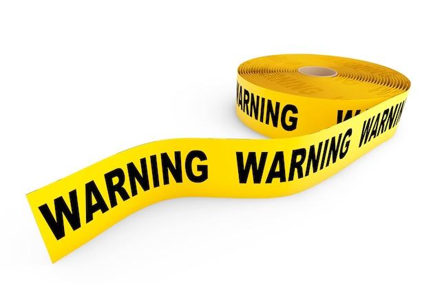 Fita amarela de advertência em um fundo branco