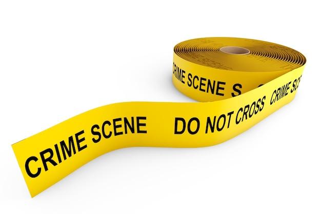 Fita amarela de cena de crime em um fundo branco