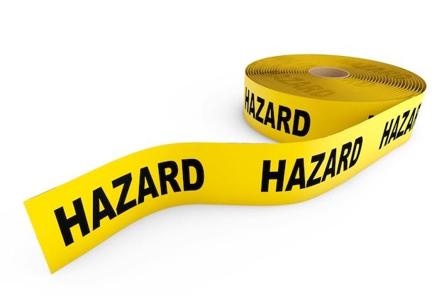 Fita amarela de perigo em um fundo branco