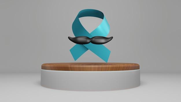 Fita azul do mês de conscientização do câncer de próstata de novembro. prevenção do câncer em homens, renderização em 3d
