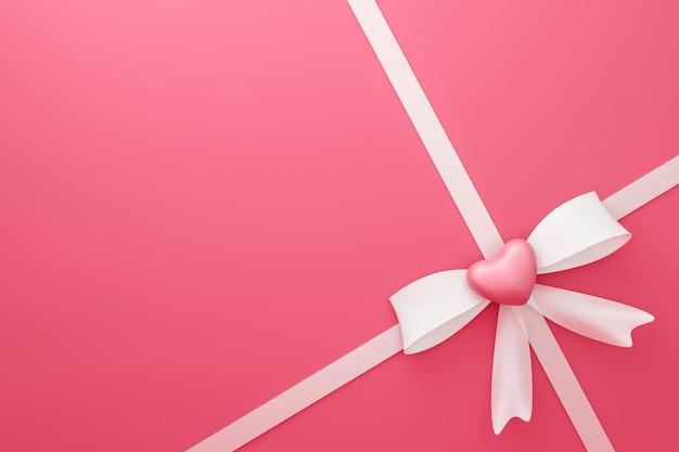Fita branca sobre fundo de caixa de presente rosa com feliz dia dos namorados festival ou comemoração de aniversário. especial de embalagem para o estilo de coração de amor. renderização em 3d.