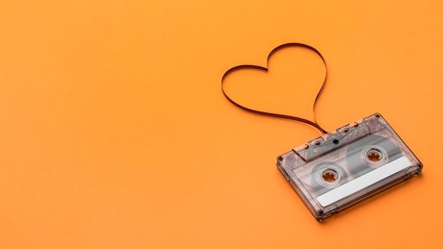 Fita cassete com espaço de cópia de filme de gravação magnética