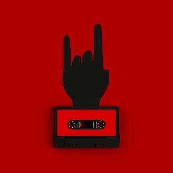 Fita cassete vintage com sinal de mão rock