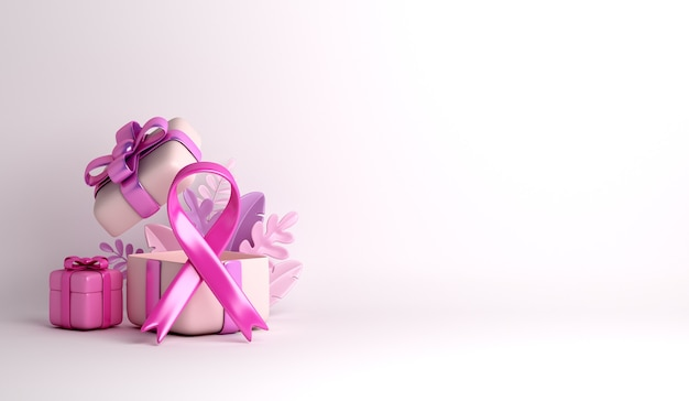 Fita de conscientização do câncer de mama com fundo de decoração de caixa de presente