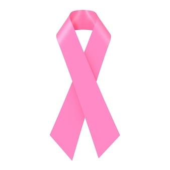 Fita de símbolo de conscientização do câncer de mama rosa em um fundo branco. renderização 3d
