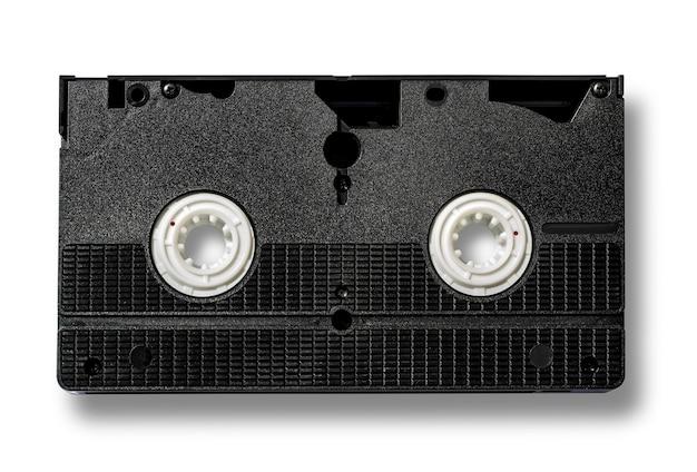Fita de vídeo vhs em branco isolada no branco