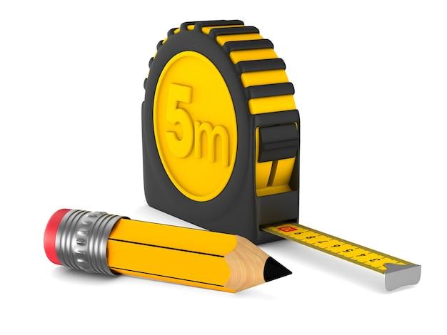 Fita métrica amarela e lápis. isolado, renderização 3d