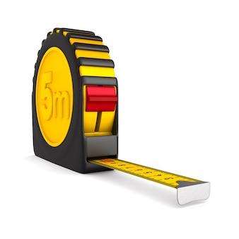 Fita métrica amarela na superfície branca. ilustração 3d isolada.