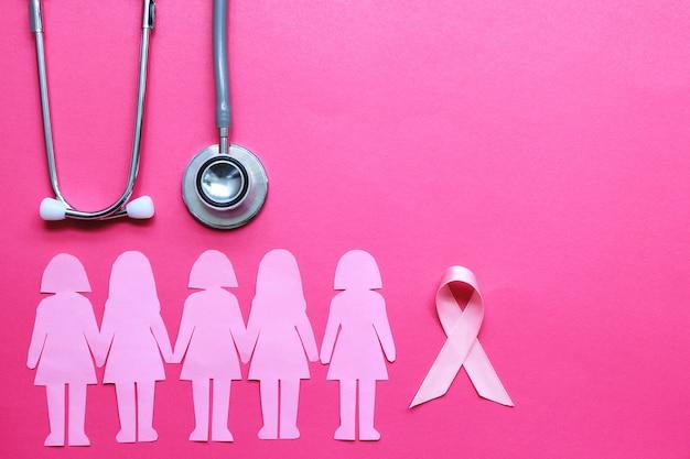 Fita rosa e estetoscópio no fundo rosa, símbolo do câncer de mama em mulheres