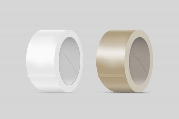 Fitas adesivas adesivas em branco e marrom em branco