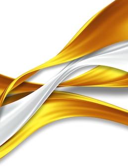Fitas de seda de ouro e prata em um fundo branco