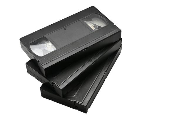 Fitas de vídeo para uso doméstico isoladas em branco