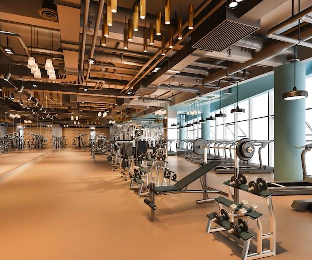 Fitness e academia moderna e luxuosa