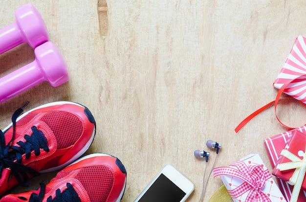 Fitness, estilos de vida saudáveis e ativos apresentam conceito de caixas