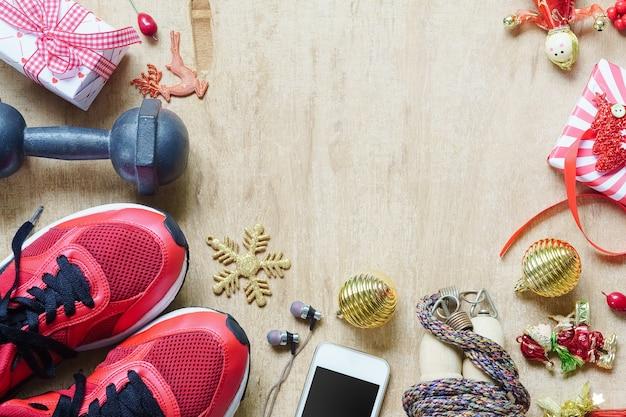 Fitness, estilos de vida saudáveis e ativos com decoração de natal
