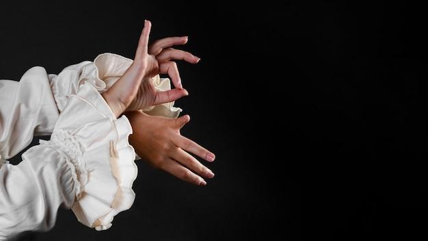 Flamenca mãos com espaço de cópia