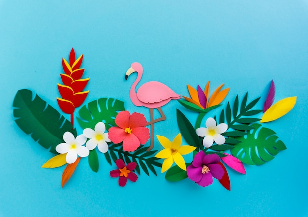 Flamingo nature papercraft deixa plantas