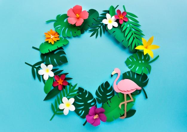 Flamingo nature papercraft deixa plantas