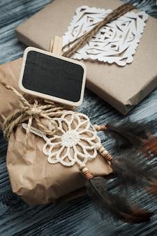 Flat lay com presentes de natal