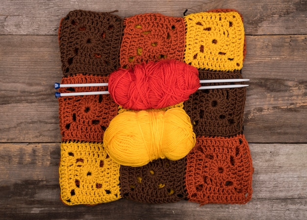 Flat lay de padrões de lã