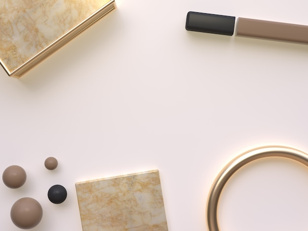 Flat lay fundo 3d rendering creme ouro mármore forma