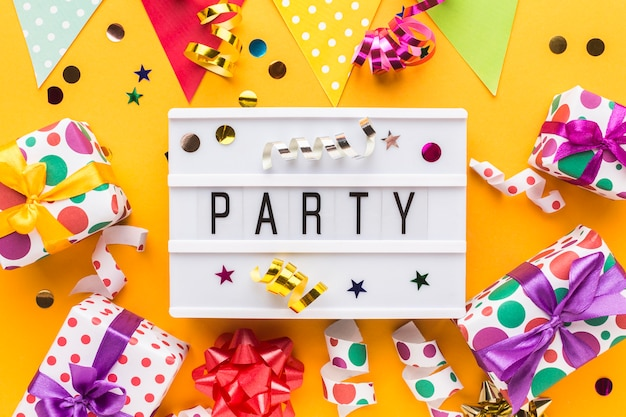 Flat lay party still life