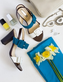 Flat lay sapatos femininos e colagem de acessórios.