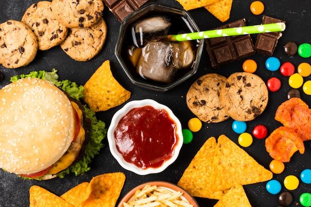 Flat leigos de refeição de fast food