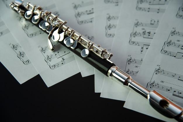 Flauta com folhas com notas musicais close-up