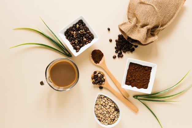 Flay leigos de café e saco de café
