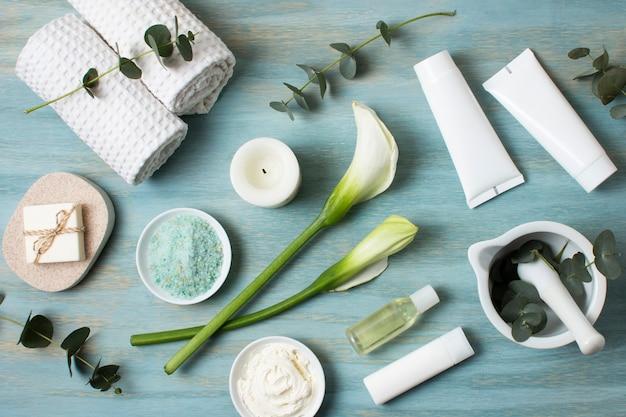 Flay leigos sortimento com produtos de spa