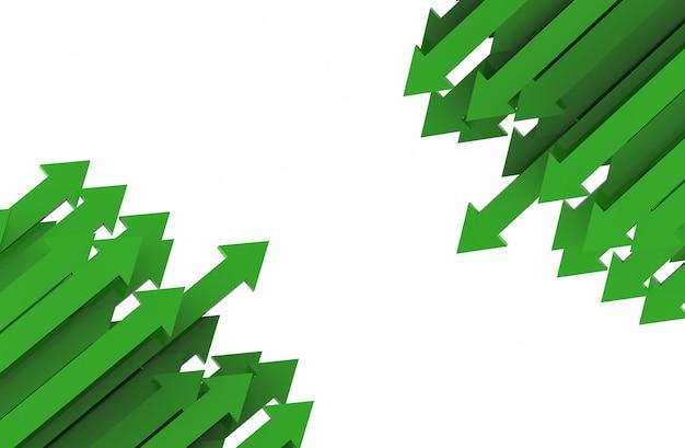 Flecha vermelha. conceito de plano de negócios crescente. renderização em 3d.