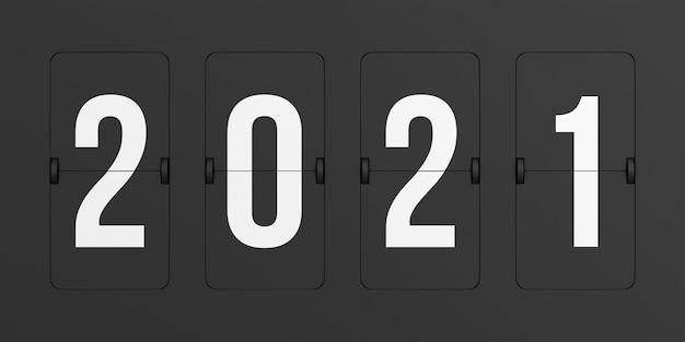 Flip black scoreboard 2021. renderização 3d