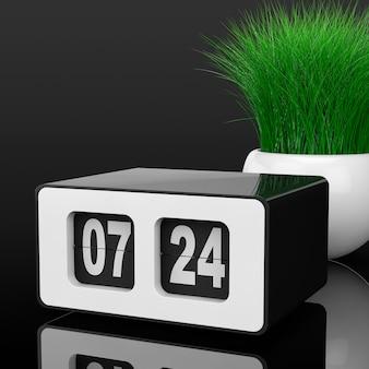 Flip clock vintage com grama no plantador de cerâmica branca em um fundo preto. renderização 3d