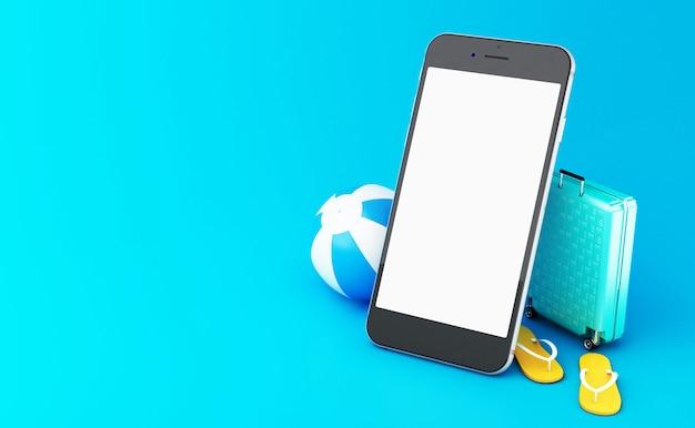 Flip-flops 3d, mala de viagem e bola de praia em um smartphone com tela branca.