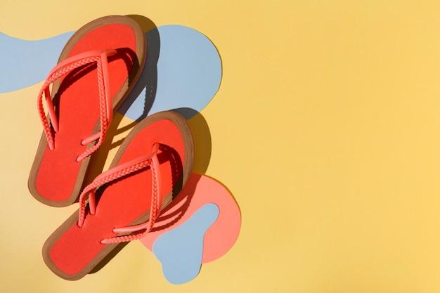 Flip-flops de vista superior e espaço de cópia