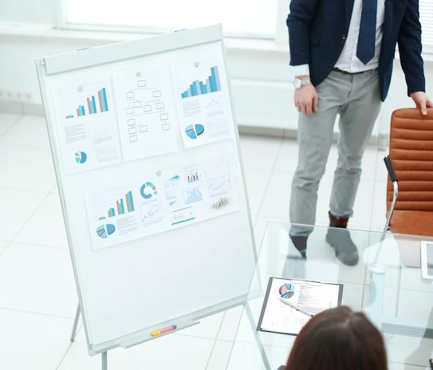Flipchart com agenda de marketing no centro do escritório.