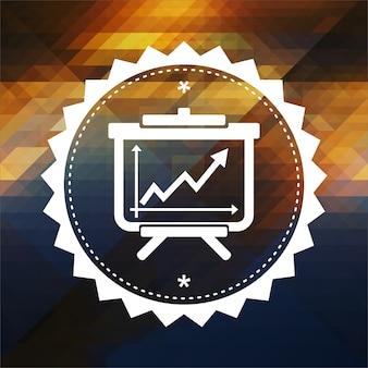Flipchart com ícone de gráfico de crescimento. design de rótulo retrô. fundo de hipster feito de triângulos, efeito de fluxo de cor.