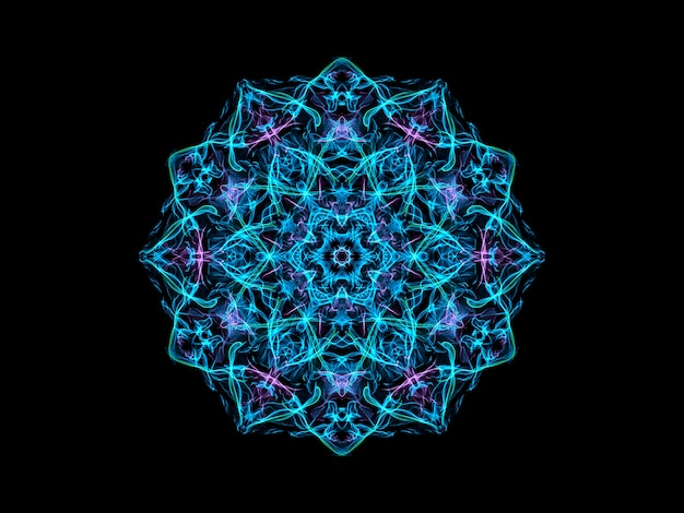 Floco de neve abstrato mandala azul e violeta