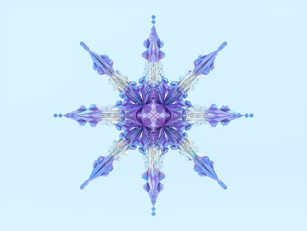 Floco de neve de natal de inverno abstrato. mandala 3d.