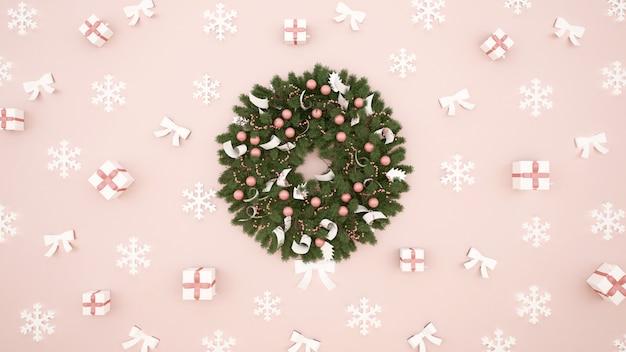 Floco de neve e fita no fundo rosa