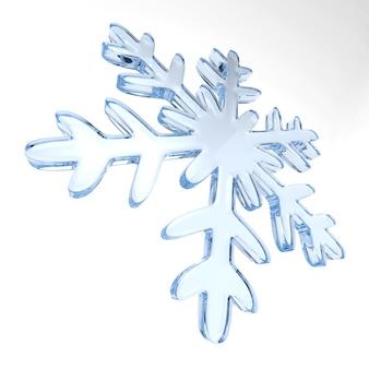Floco de neve em fundo branco.