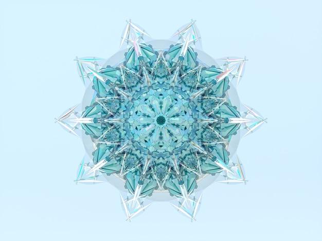 Floco de neve mandala de cristal geométrico abstrato 3d.