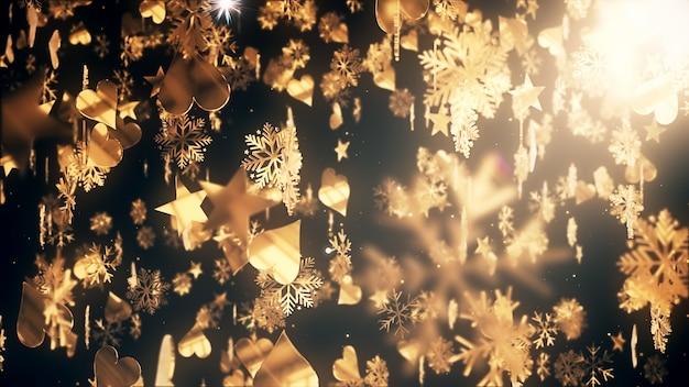 Flocos de natal fundo e papel de parede no natal e comemorar a cena. Foto Premium