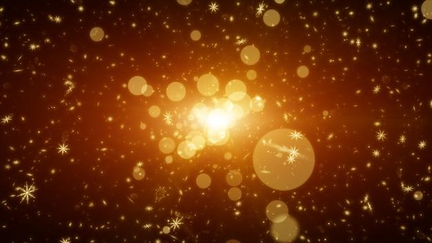 Flocos de neve com luz nas partículas. abstrato dourado
